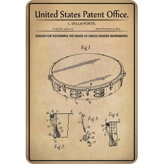 Schild Motiv Design tightening the heads of instruments, Trommel Patent 20 x 30 cm Blechschild