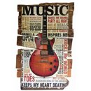 Schild Spruch Music keeps my heart beeting Gitarre 20 x...