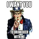 Schild Spruch I want you to drink beer with me 20 x 30 cm