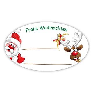 "Weihnachtsaufkleber oval /""Frohe Weihnachten/"" Kugeln 60 x 35 mm 100er Rolle"