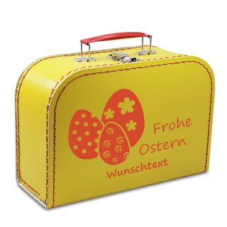 Pappkoffer 16 cm Frohe Ostern gelb mit Wunschname