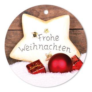 Geschenkanhänger Frohe Weihnachten.25er Pack Geschenkanhänger Frohe Weihnachten Ca ø 95 Mm