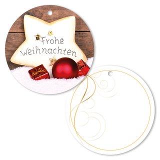 """25er Pack Geschenkanhänger /""""Frohe Weihnachten/"""" Stern ca Ø 95 mm"""