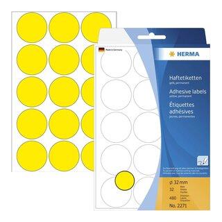 Herma 2271 Vielzwecketiketten gelb Ø 32 mm rund Papier matt 480 St.
