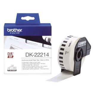 Brother® DK-Endlosetiketten Papier-Etiketten 12 mm x 30,48 m weiß