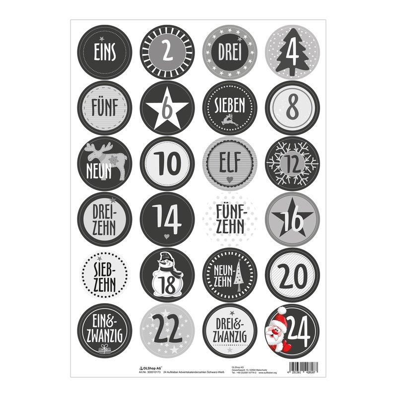 Zahlen Sticker XMAS ADVENTSKALENDER Set 24 Papiertüten in weiß mit 24 Tafel