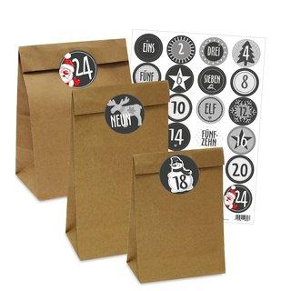 24 braune Papiertüten mit Zahlenstickern für Adventskalender