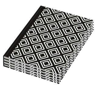 4er Pack Notizbuch / Kladde dotted black & white Rhombus DIN A5
