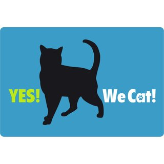 Schild Spruch Yes we cat 20 x 30 cm Blechschild
