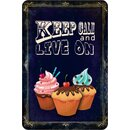 Schild Spruch Cupcake keep calm and live on 20 x 30 cm...