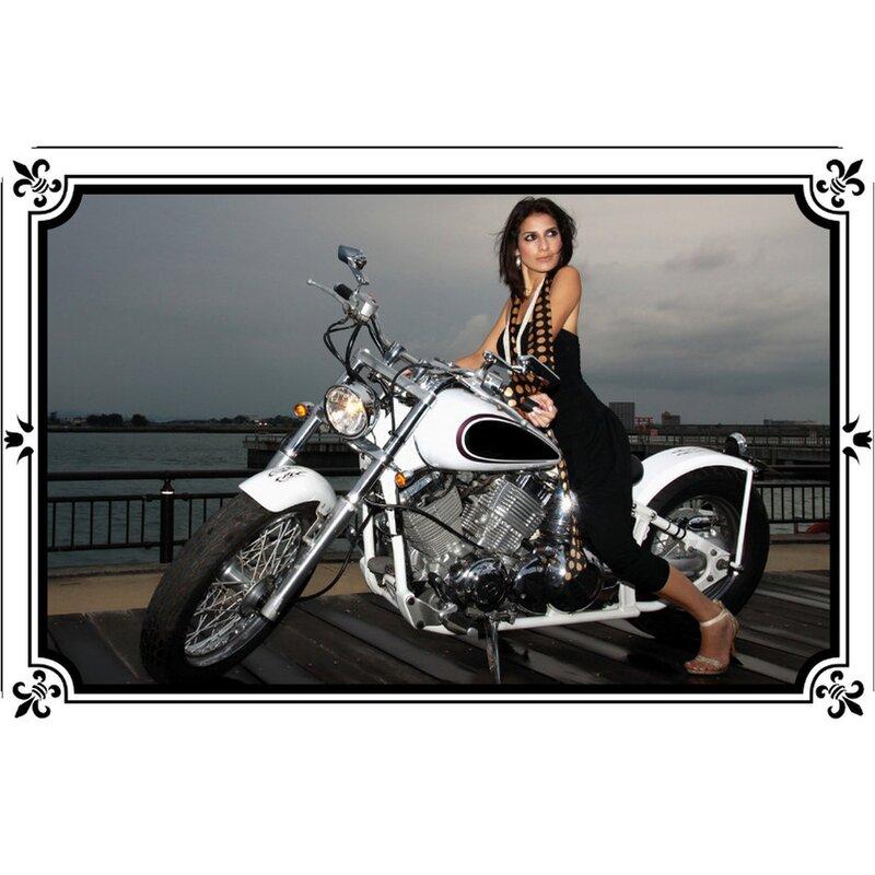 Schild Spruch weißes Motorrad - dunkelhaarige Frau 20 x