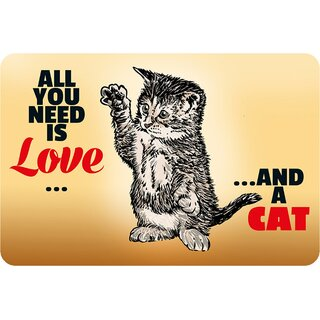 Schild Spruch All you need is love and a cat 20 x 30 cm Blechschild