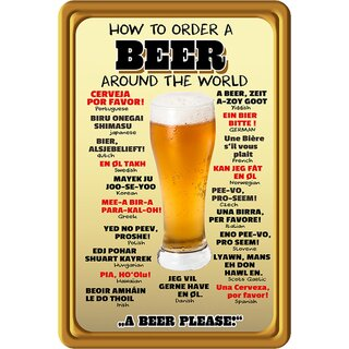 Schild Spruch How to order a beer around the world 20 x 30 cm Blechschild