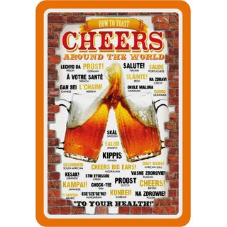 Schild Spruch How to toast cheers around the world, to your health 20 x 30 cm Blechschild