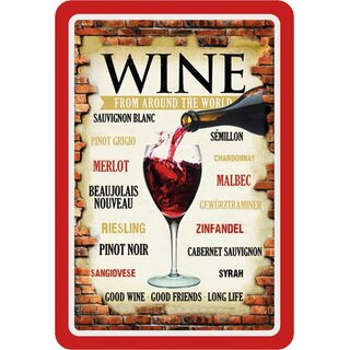 Schild Spruch Wine from around the world, good friends roter Rahmen 20 x 30 cm Blechschild